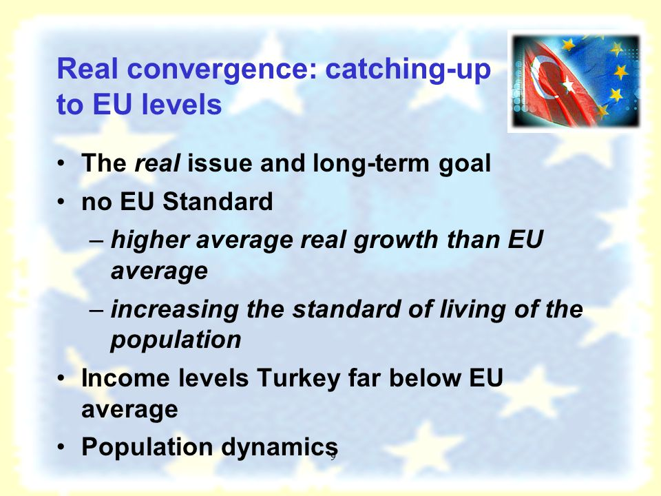 8 Economic convergence: Integration with EU (2) Economic integration between the EU-25 and Turkey is well advanced through: –trade and investment flows Institutional framework for bilateral relations between the EU and Turkey.