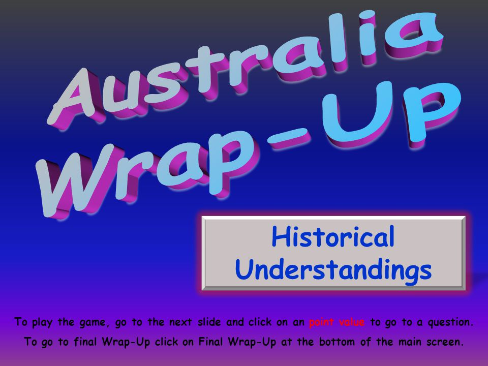 Historical Understandings To play the game, go to the next slide and click on an point value to go to a question.