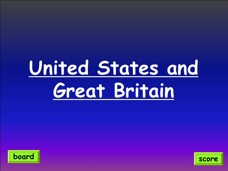 United States and Great Britain score board