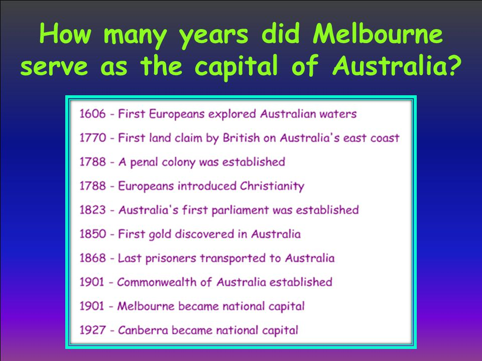 How many years did Melbourne serve as the capital of Australia