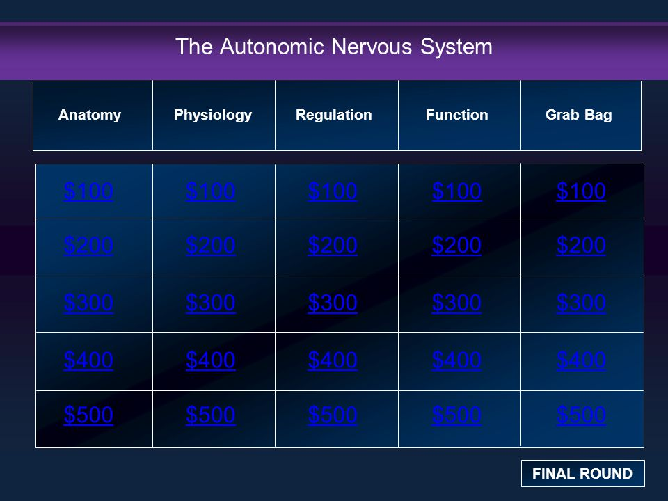 The Autonomic Nervous System $100 $200 $300 $400 $500 $100$100$100 $200 $300 $400 $500 Anatomy FINAL ROUND PhysiologyRegulation Function Grab Bag