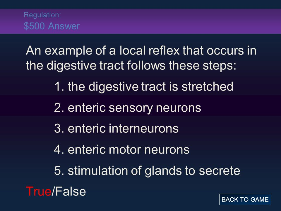 Regulation: $500 Answer An example of a local reflex that occurs in the digestive tract follows these steps: 1.