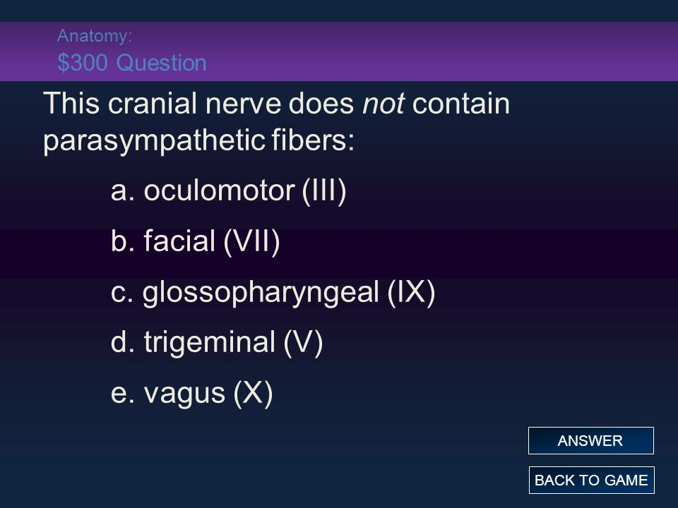 Anatomy: $300 Question This cranial nerve does not contain parasympathetic fibers: a.