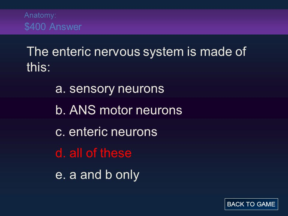Anatomy: $400 Answer The enteric nervous system is made of this: a.