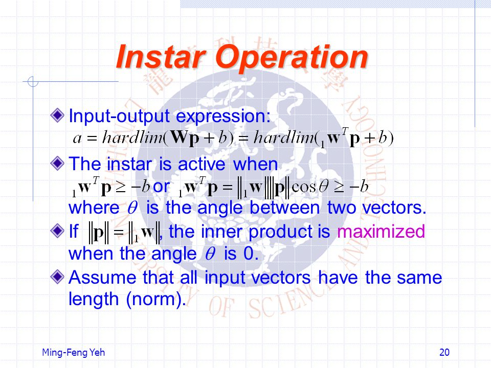 Ming-Feng Yeh20 Instar Operation Input-output expression: The instar is active when or where  is the angle between two vectors.