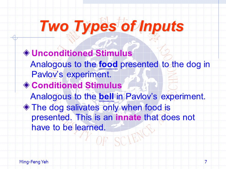 Ming-Feng Yeh7 Two Types of Inputs Unconditioned Stimulus Analogous to the food presented to the dog in Pavlov's experiment.