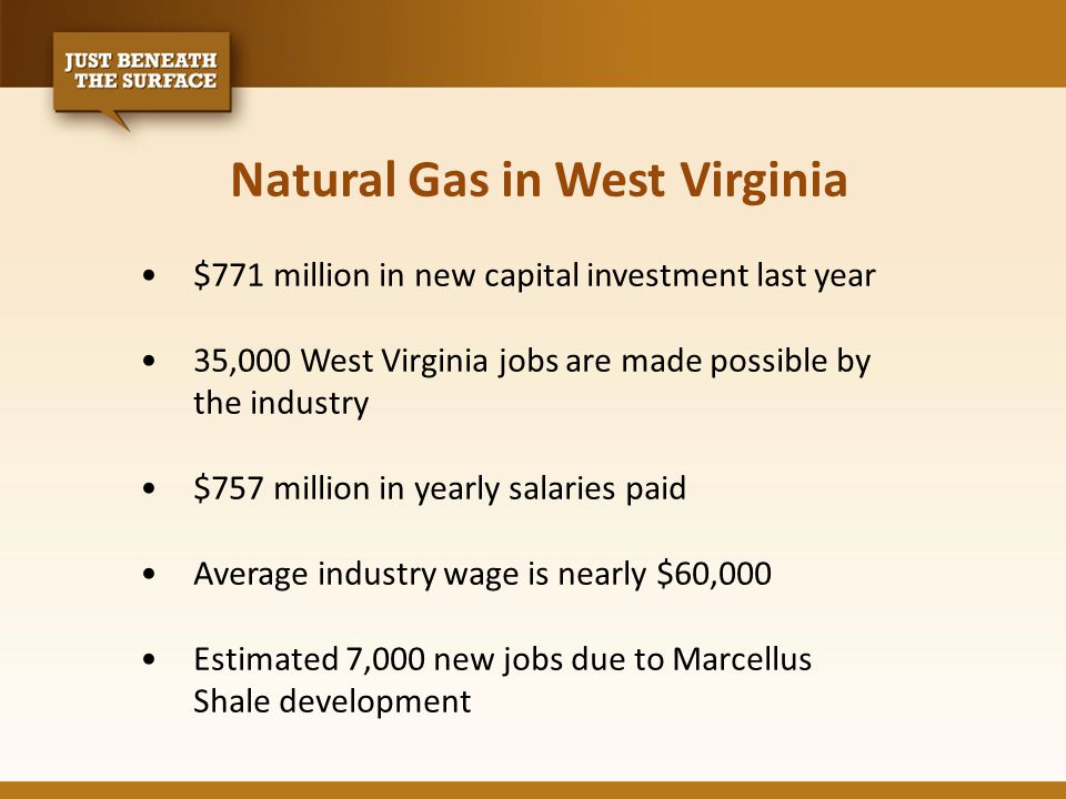 Natural Gas in West Virginia $771 million in new capital investment last year 35,000 West Virginia jobs are made possible by the industry $757 million in yearly salaries paid Average industry wage is nearly $60,000 Estimated 7,000 new jobs due to Marcellus Shale development