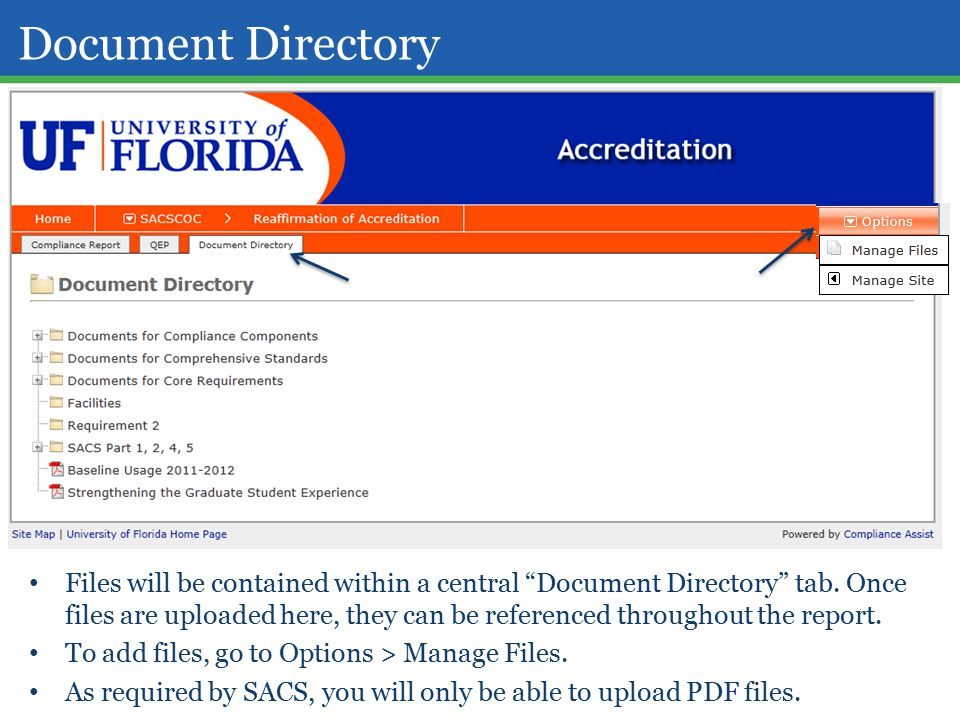Document Directory Files will be contained within a central Document Directory tab.