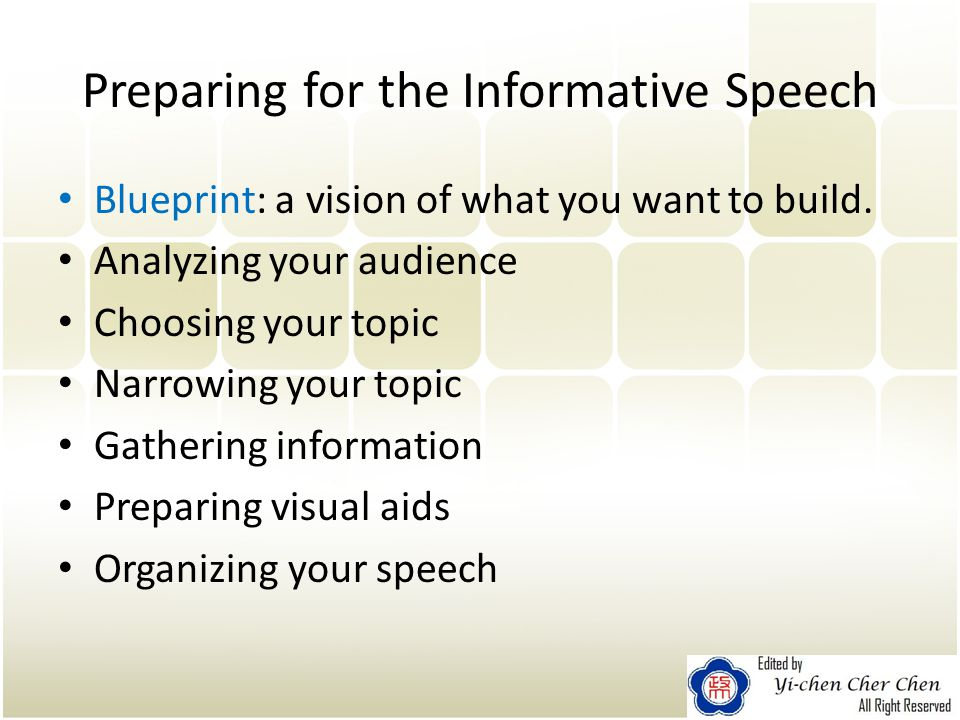 Chapter 4 speaking to inform preparing for the informative speech preparing for the informative speech blueprint a vision of what you want to build malvernweather Gallery