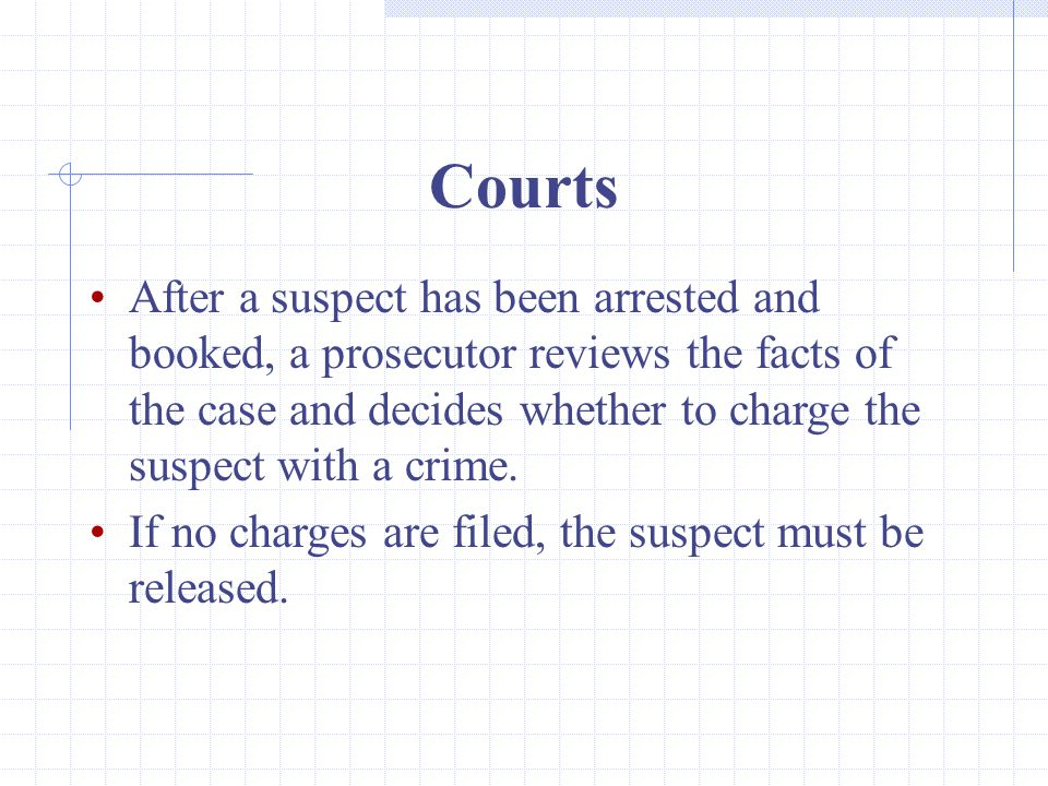 Courts After a suspect has been arrested and booked, a prosecutor reviews the facts of the case and decides whether to charge the suspect with a crime.