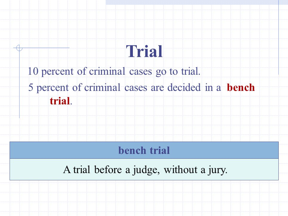 Trial 10 percent of criminal cases go to trial.