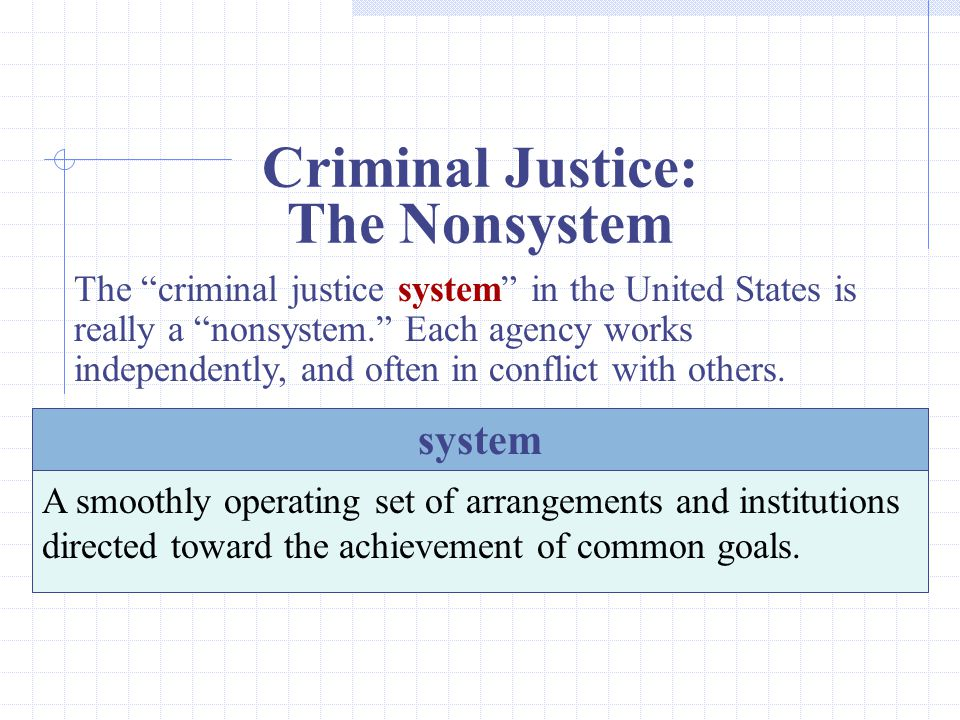 Criminal Justice: The Nonsystem The criminal justice system in the United States is really a nonsystem. Each agency works independently, and often in conflict with others.
