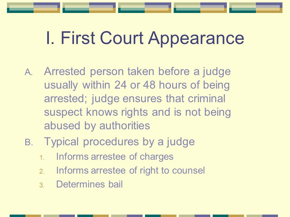 I. First Court Appearance A.