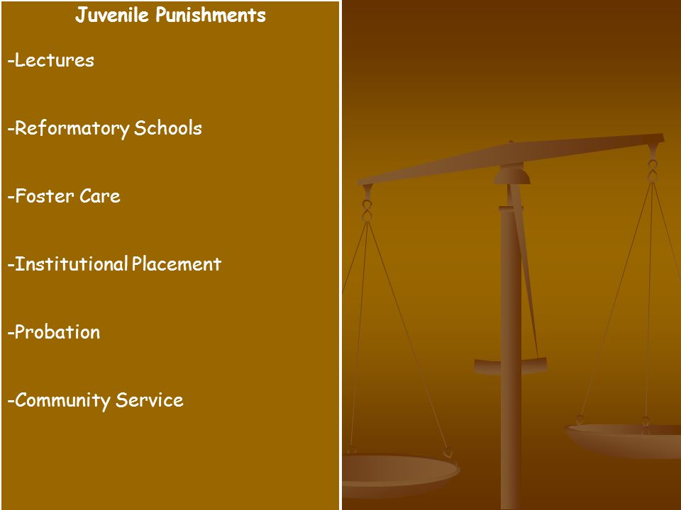 Juvenile Punishments -Lectures -Reformatory Schools -Foster Care -Institutional Placement -Probation -Community Service