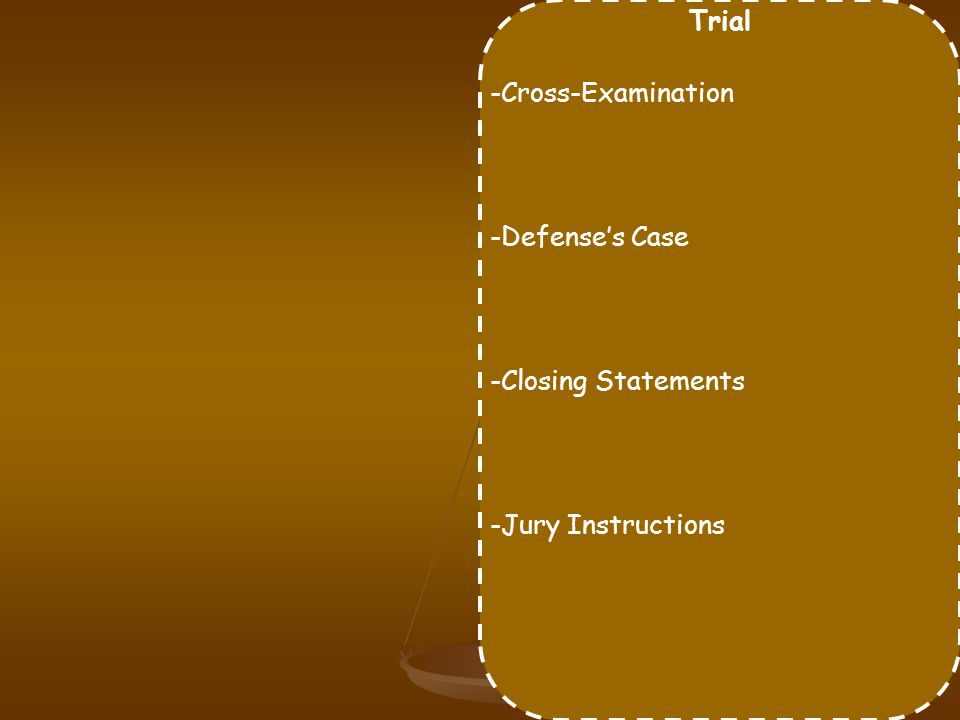Trial -Cross-Examination -Defense's Case -Closing Statements -Jury Instructions