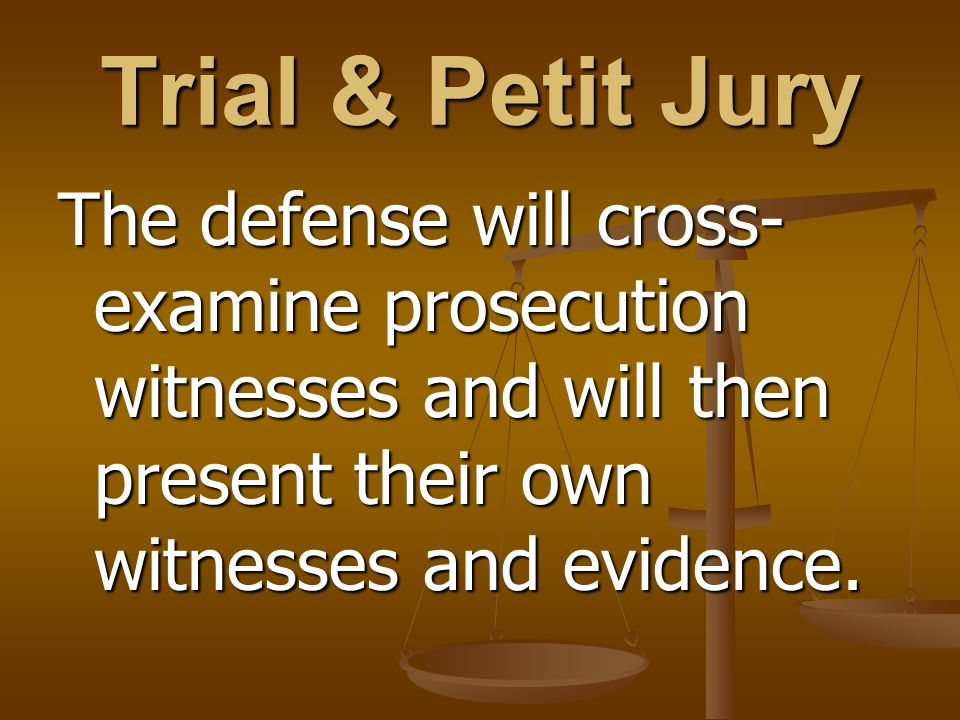 Trial & Petit Jury The defense will cross- examine prosecution witnesses and will then present their own witnesses and evidence.