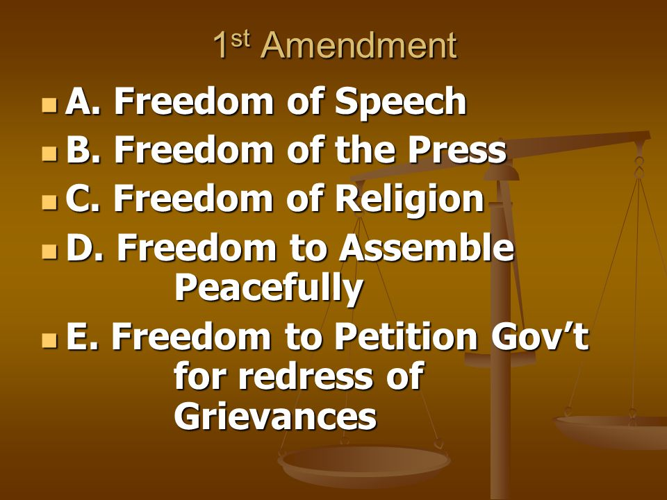 1 st Amendment A. Freedom of Speech A. Freedom of Speech B.