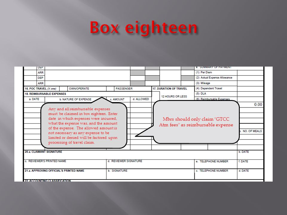 Any and all reimbursable expenses must be claimed in box eighteen.