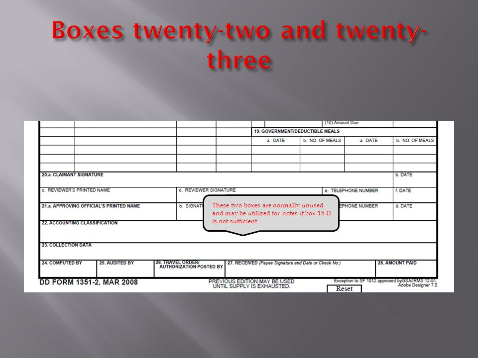These two boxes are normally unused and may be utilized for notes if box 15 D. is not sufficient.