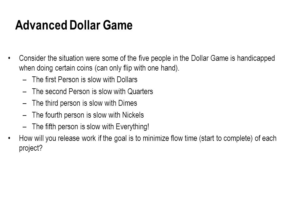 Advanced Dollar Game Consider the situation were some of the five people in the Dollar Game is handicapped when doing certain coins (can only flip with one hand).