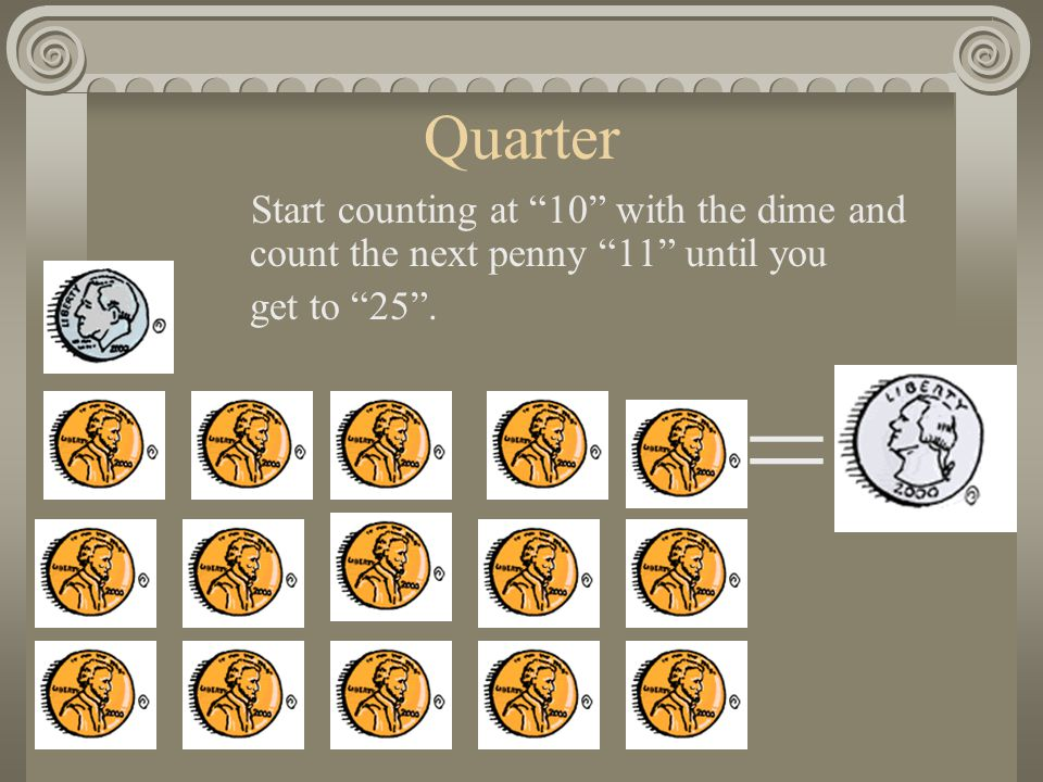 Quarter Start counting at 10 with the dime and count the next penny 11 until you get to 25 . =