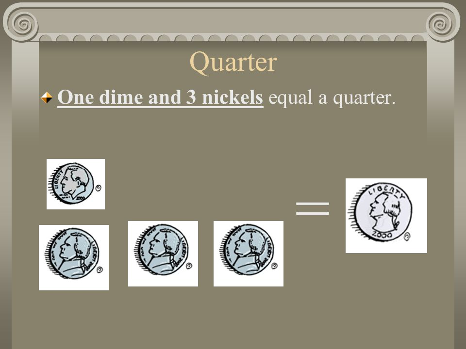 Quarter One dime and 3 nickels equal a quarter. =