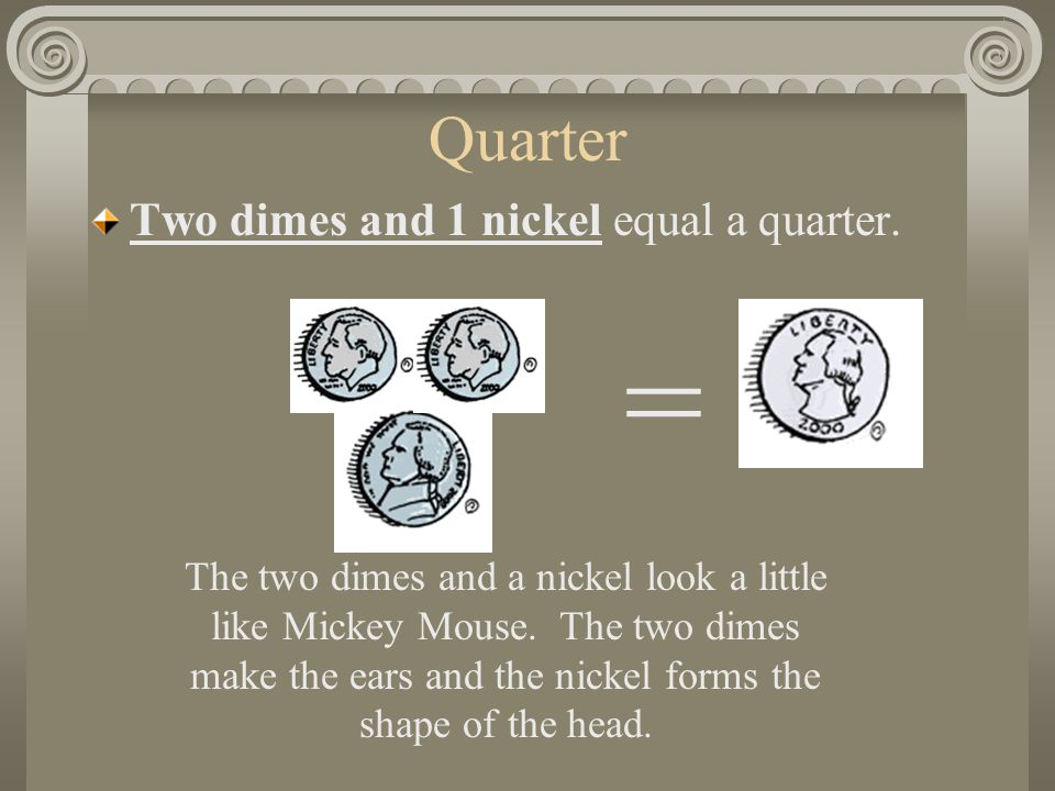 Quarter Two dimes and 1 nickel equal a quarter.