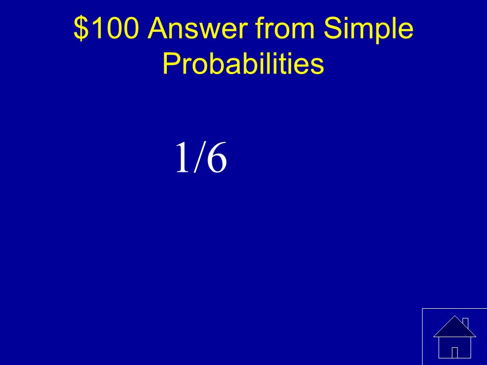 $100 Question from Simple Probabilities What is the probability of rolling a 2 when a fair die is rolled once