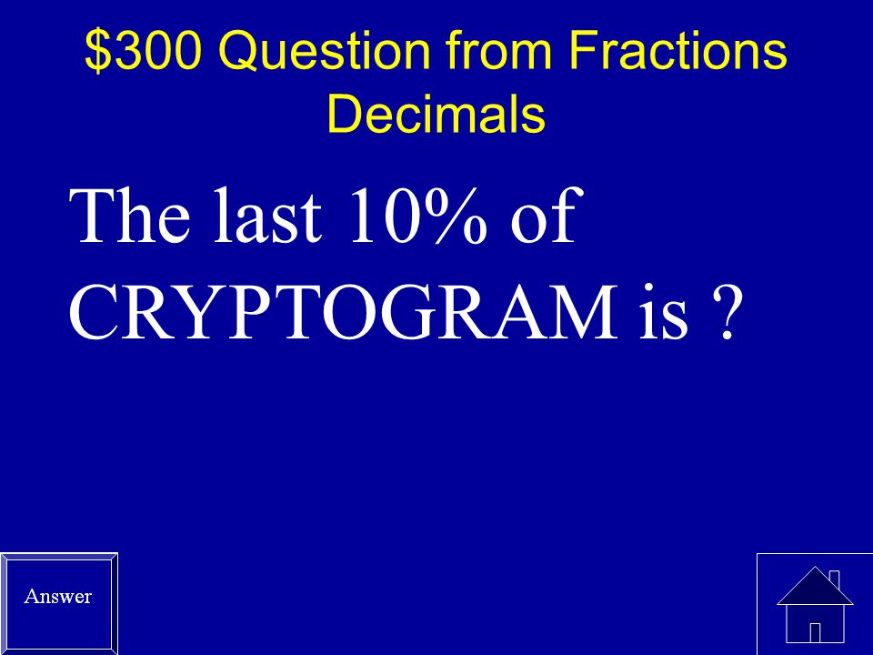 $200 Answer from Fractions Decimals