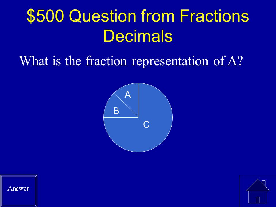 $400 Answer from Fractions Decimals =.25