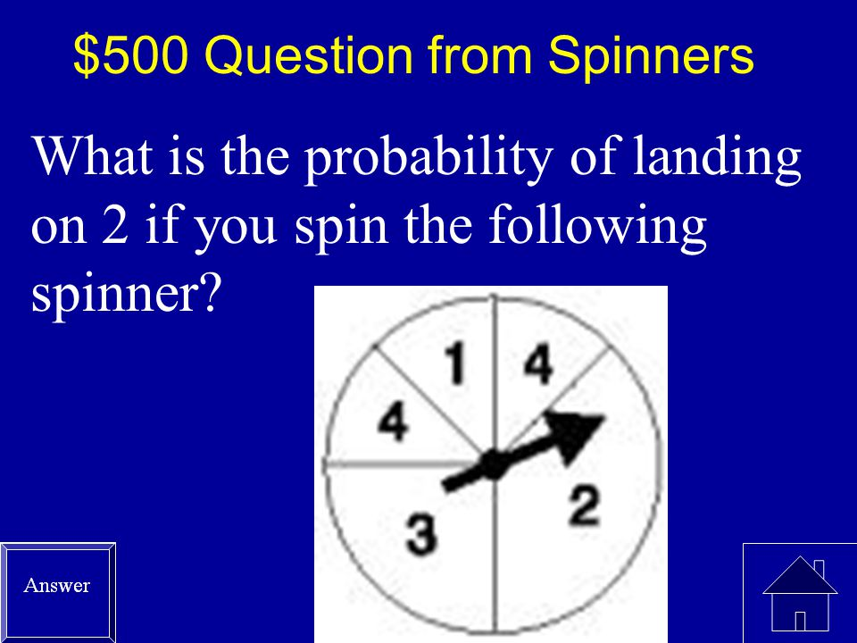 $400 Answer from Spinners