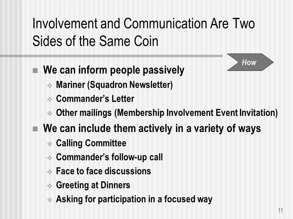 Involvement and Communication Are Two Sides of the Same Coin We can inform people passively  Mariner (Squadron Newsletter)  Commander's Letter  Other mailings (Membership Involvement Event Invitation) We can include them actively in a variety of ways  Calling Committee  Commander's follow-up call  Face to face discussions  Greeting at Dinners  Asking for participation in a focused way 11 How