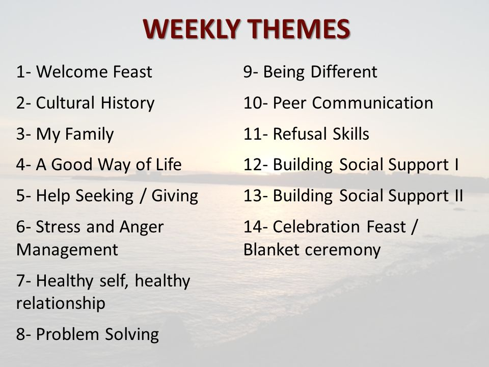 WEEKLY THEMES 1- Welcome Feast 2- Cultural History 3- My Family 4- A Good Way of Life 5- Help Seeking / Giving 6- Stress and Anger Management 7- Healthy self, healthy relationship 8- Problem Solving 9- Being Different 10- Peer Communication 11- Refusal Skills 12- Building Social Support I 13- Building Social Support II 14- Celebration Feast / Blanket ceremony