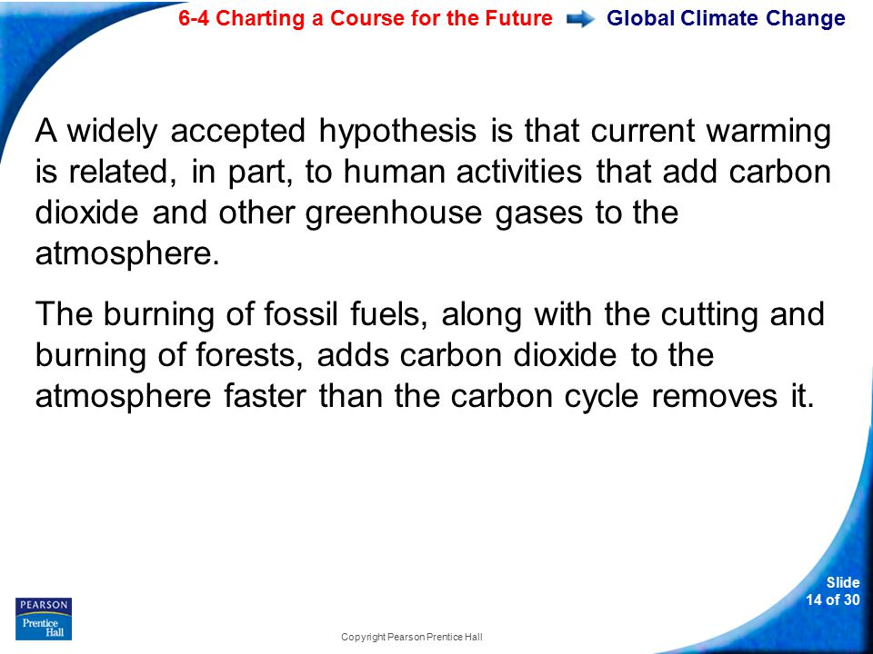 6-4 Charting a Course for the Future Slide 14 of 30 Copyright Pearson Prentice Hall Global Climate Change A widely accepted hypothesis is that current warming is related, in part, to human activities that add carbon dioxide and other greenhouse gases to the atmosphere.