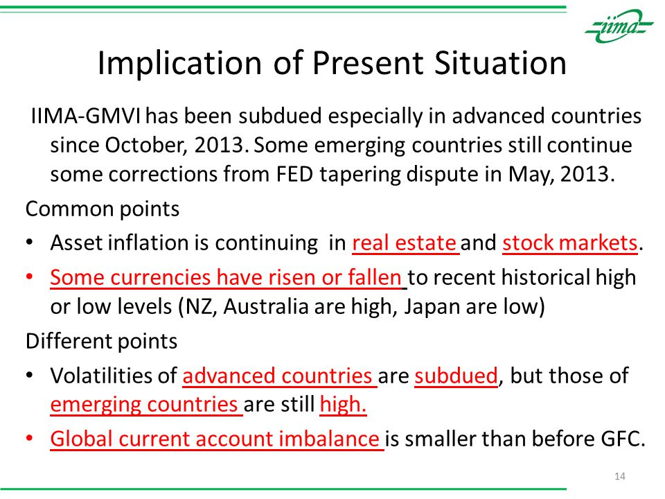 Implication of Present Situation 14 IIMA-GMVI has been subdued especially in advanced countries since October, 2013.
