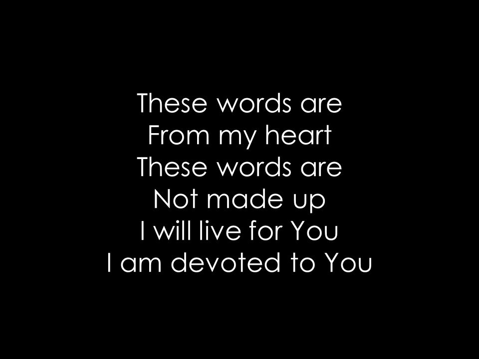 These words are From my heart These words are Not made up I will live for You I am devoted to You