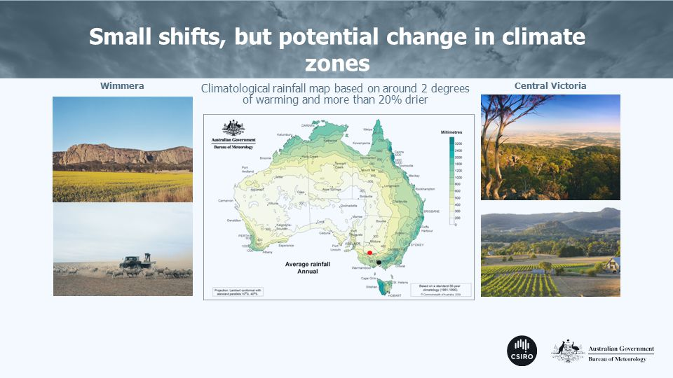 Small shifts, but potential change in climate zones Climatological rainfall map based on around 2 degrees of warming and more than 20% drier WimmeraCentral Victoria