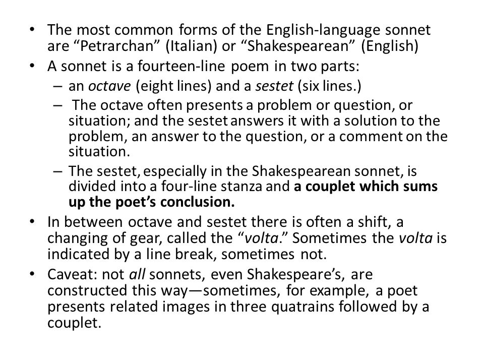 an overview of the shakespeares relation to the petrarchan convention of the sonnets This post is an extarct from what's it all about, shakespeare an introduction to the in petrarchan sonnets the first eight lines typically at social convention.