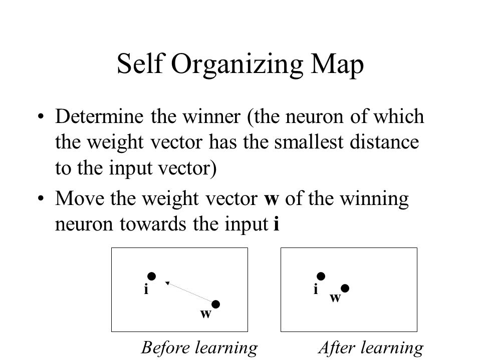 Self Organizing Map Determine the winner (the neuron of which the weight vector has the smallest distance to the input vector) Move the weight vector w of the winning neuron towards the input i Before learning i w After learning i w
