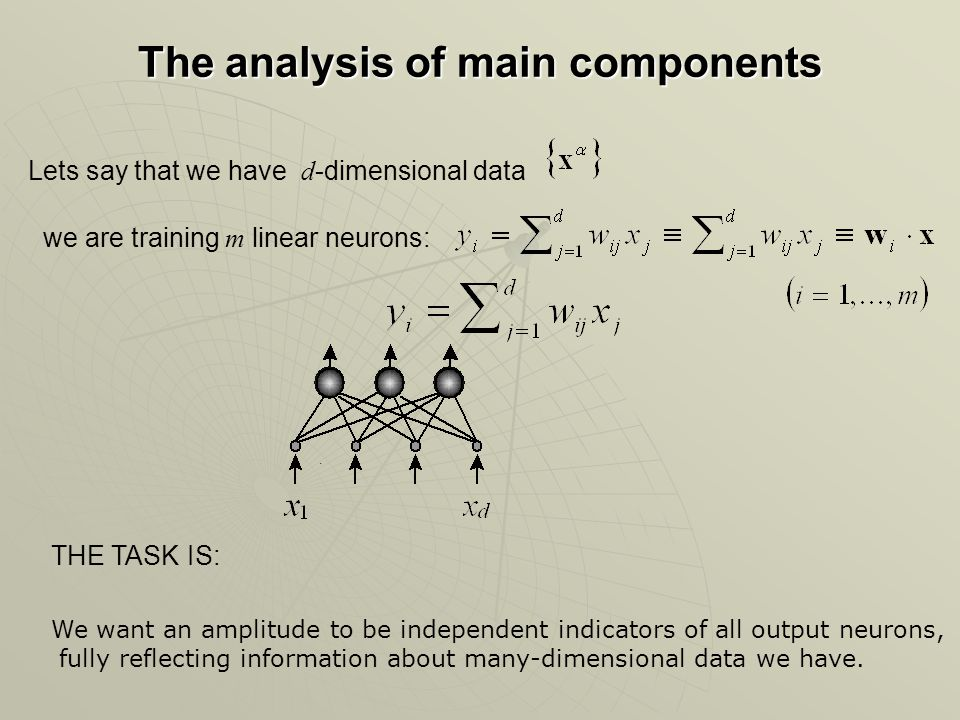 The analysis of main components Lets say that we have d -dimensional data we are training m linear neurons:.