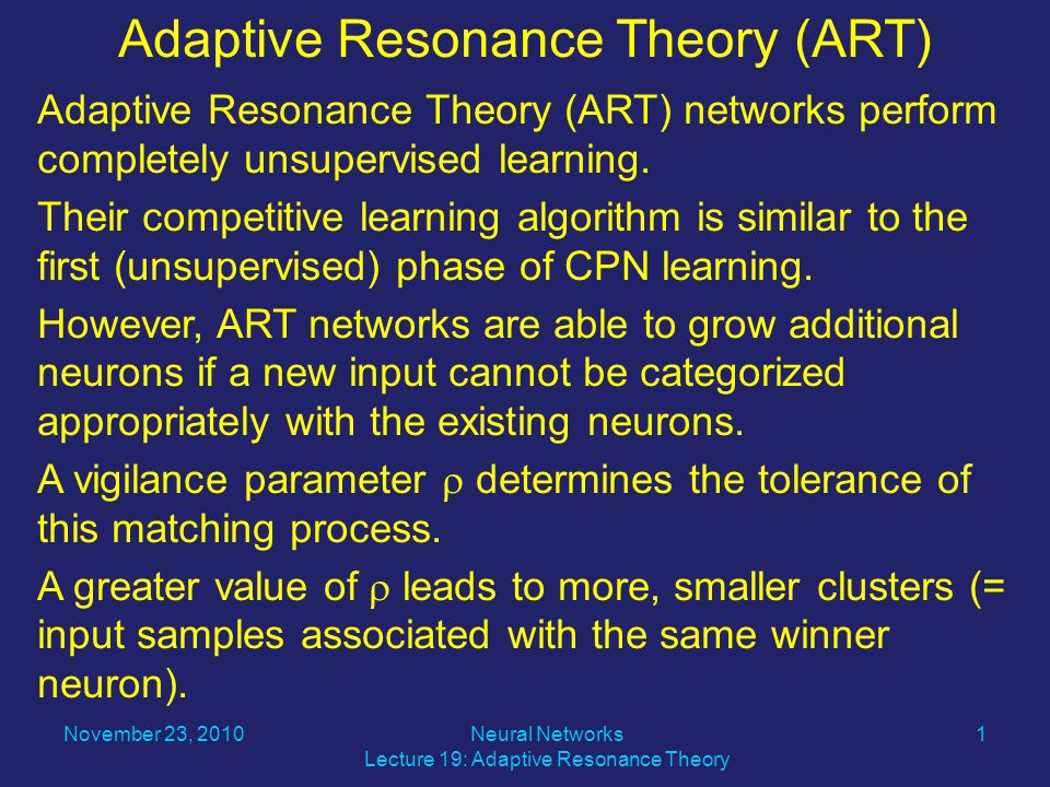Adaptive Resonance Theory (ART) networks perform completely unsupervised learning.