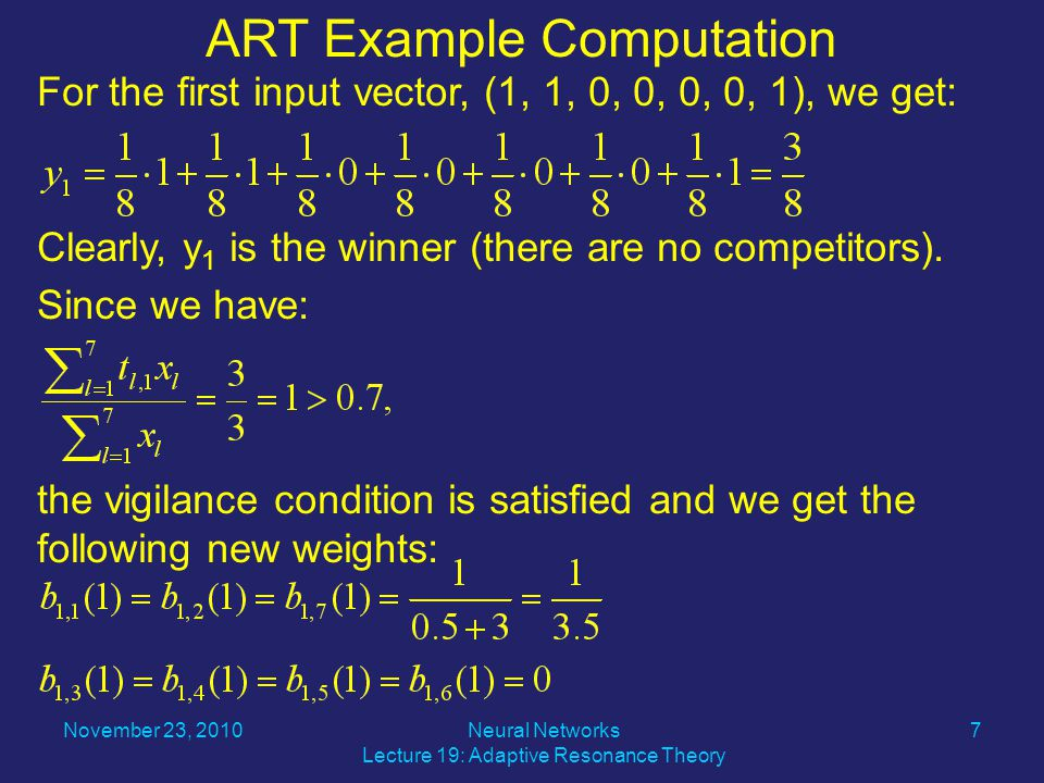 For the first input vector, (1, 1, 0, 0, 0, 0, 1), we get: Clearly, y 1 is the winner (there are no competitors).