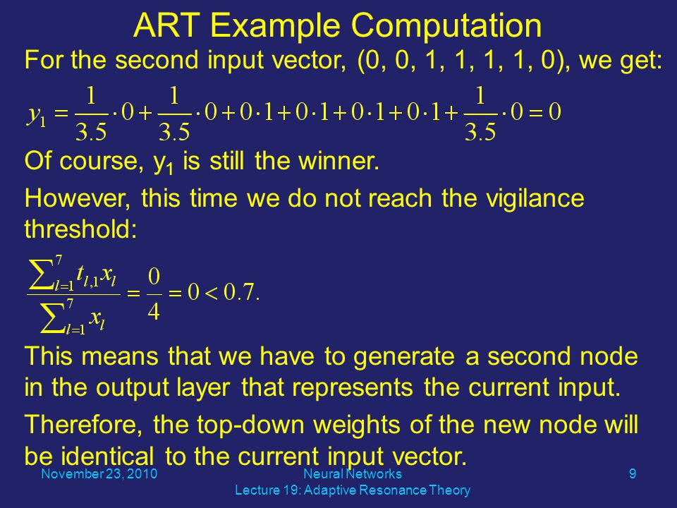 For the second input vector, (0, 0, 1, 1, 1, 1, 0), we get: Of course, y 1 is still the winner.