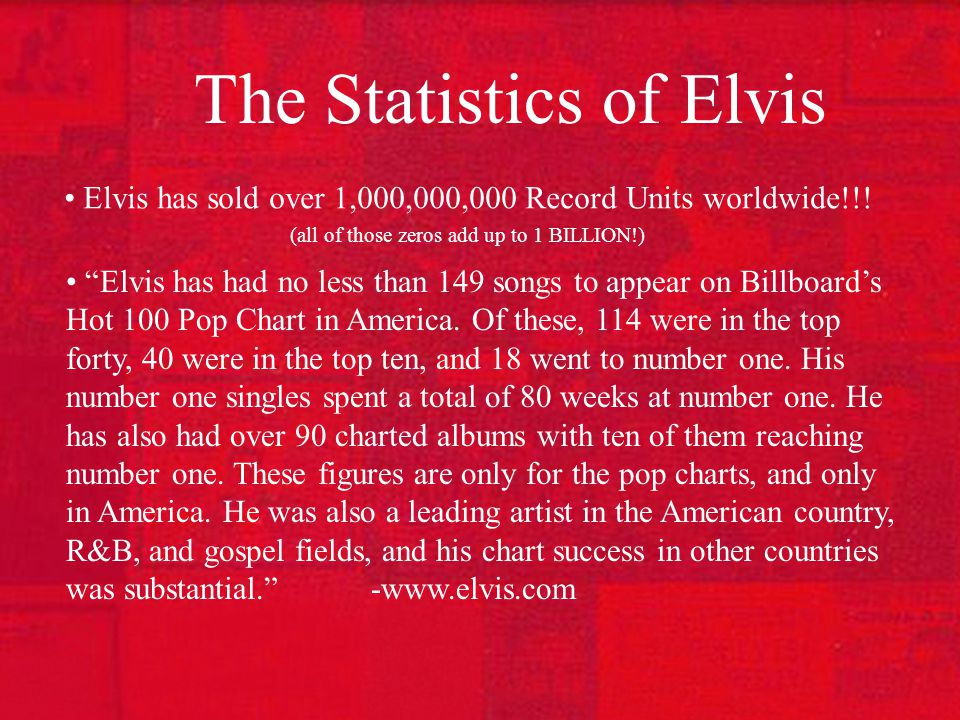 The Statistics of Elvis Elvis has sold over 1,000,000,000 Record Units worldwide!!.