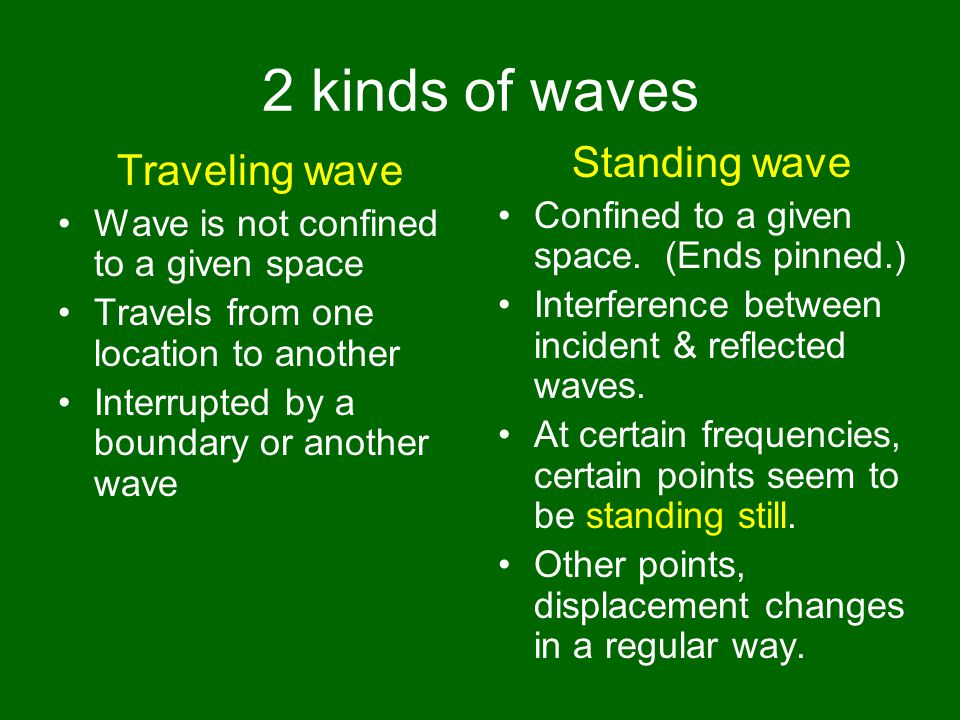 2 kinds of waves Traveling wave Wave is not confined to a given space Travels from one location to another Interrupted by a boundary or another wave Standing wave Confined to a given space.
