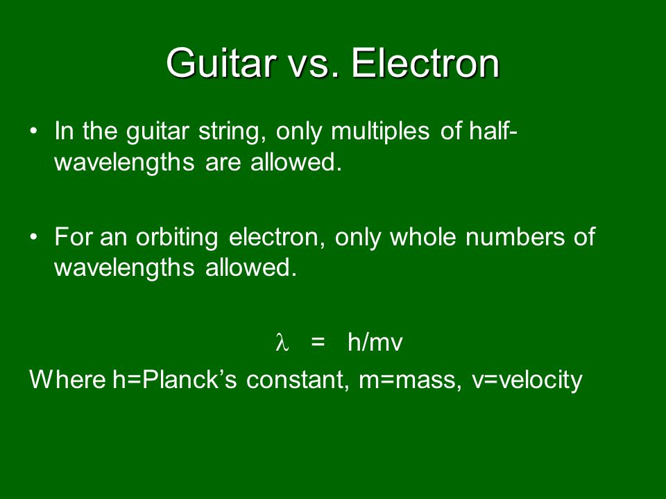 Guitar vs. Electron In the guitar string, only multiples of half- wavelengths are allowed.