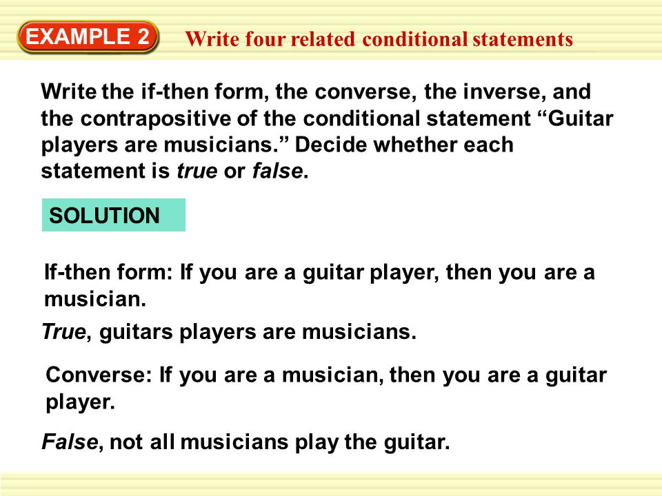 Example 2 Write Four Related Conditional Statements Write The If