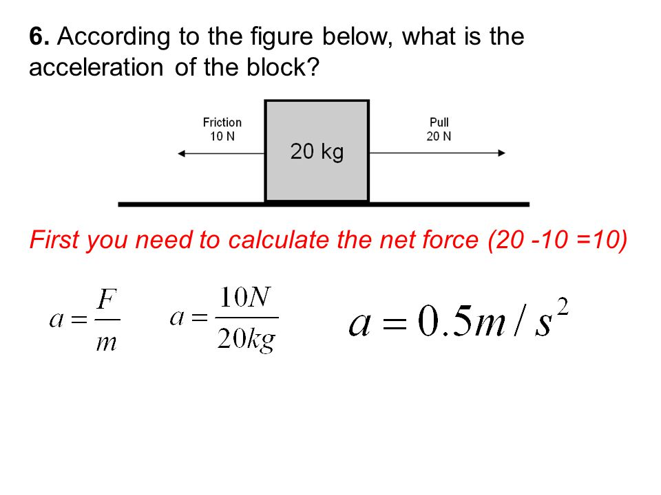 First you need to calculate the net force ( =10)