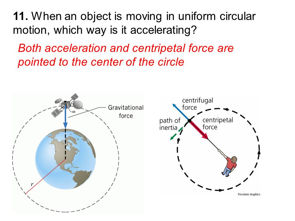 Both acceleration and centripetal force are pointed to the center of the circle