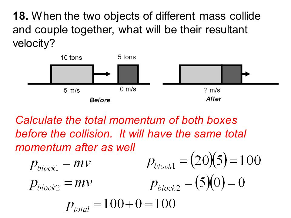 Calculate the total momentum of both boxes before the collision.